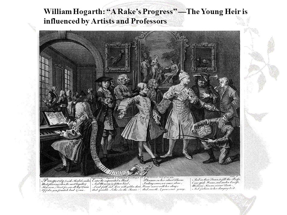 "William Hogarth: ""A Rake's Progress"" —The Young Heir is influenced by Artists and Professors"