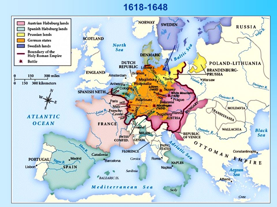 Basically… A massive civil war in Germany b/w Protestants and Roman Catholics Started as a religious war with political overtones Ended as a political war with religious overtones; the Hapsburg power was threatened; struggle for power b/w Austria and France
