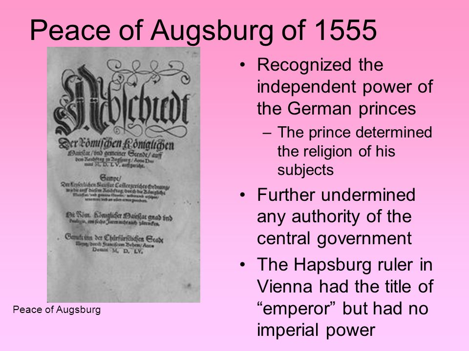 Conflicts Catholics grew alarmed because Lutherans were converting several German bishops –a violation of the Peace of Augsburg Calvinists ignored the Peace of Augsburg- converted several princes Lutheran princes formed the Protestant Union; Catholics formed the Catholic League