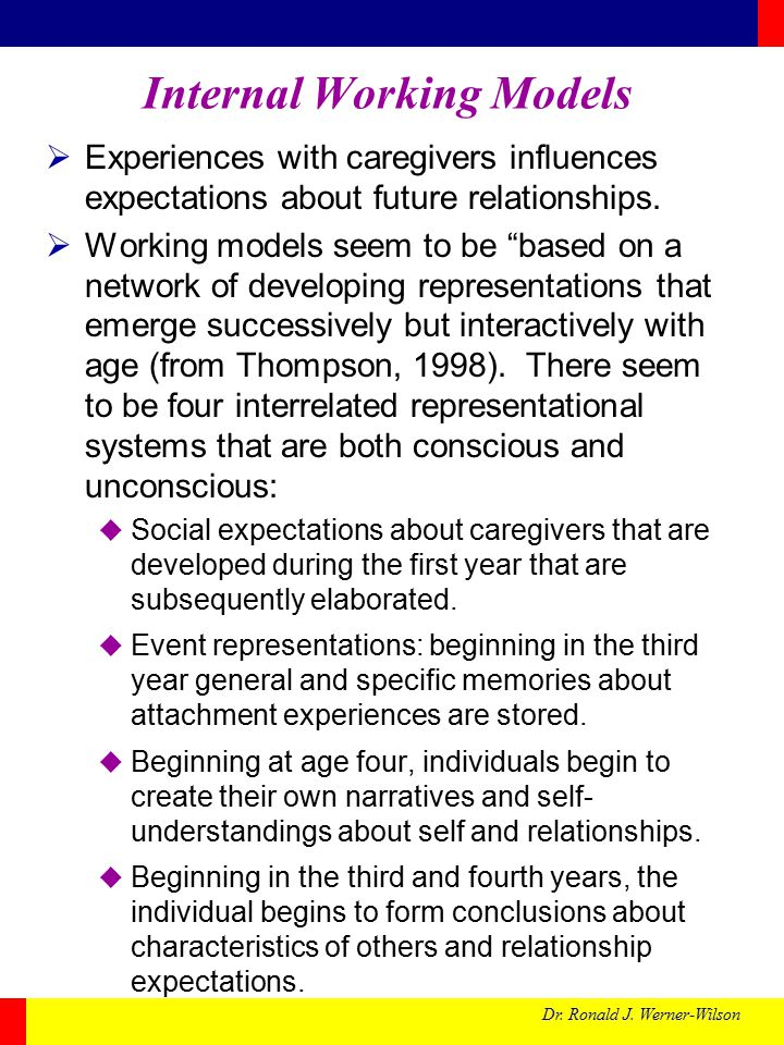 Dr. Ronald J. Werner-Wilson Internal Working Models  Experiences with caregivers influences expectations about future relationships.  Working models