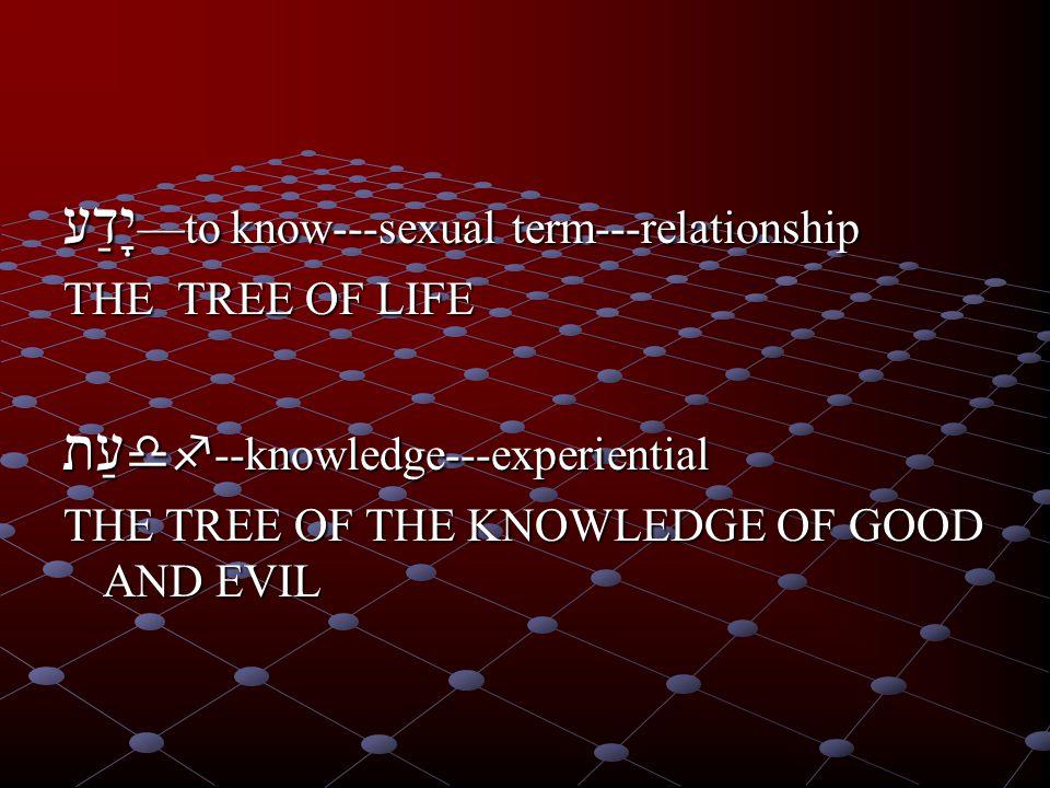 יָדַע—to know---sexual term---relationship THE TREE OF LIFE עַתdf--knowledge---experiential THE TREE OF THE KNOWLEDGE OF GOOD AND EVIL