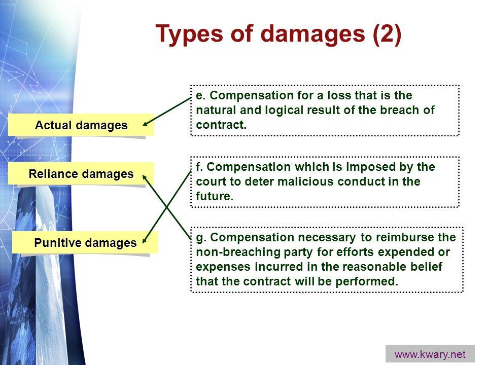 www.themegallery.com Actual damages Reliance damages Punitive damages e.