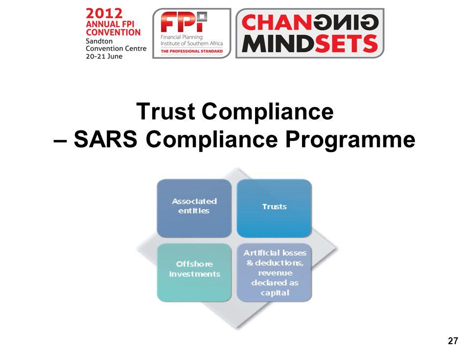 27 Trust Compliance – SARS Compliance Programme