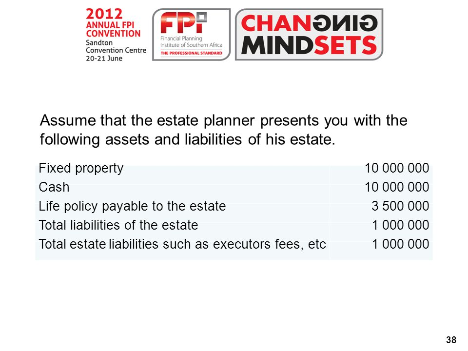 38 Assume that the estate planner presents you with the following assets and liabilities of his estate.