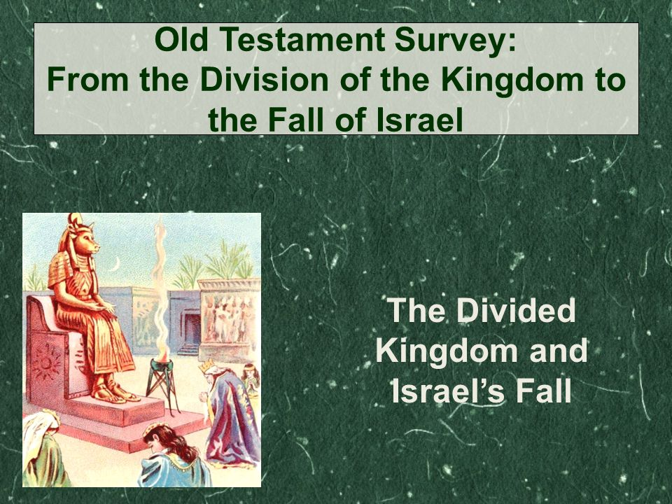 The Divided Kingdom and Israel's Fall Old Testament Survey: From the Division of the Kingdom to the Fall of Israel