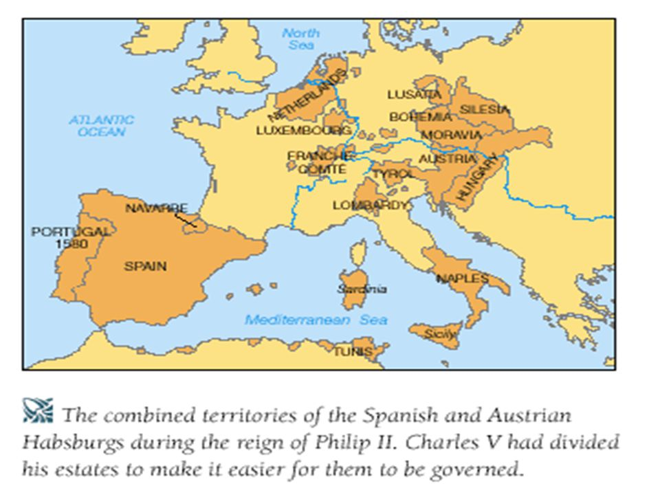  Promoted Golden age of Spain Wealth from colonies helped buildup military Defender of Catholicism  1588-Spanish Armada defeated by England (Elizabeth I)  1600's Spain power declines  Financial problems