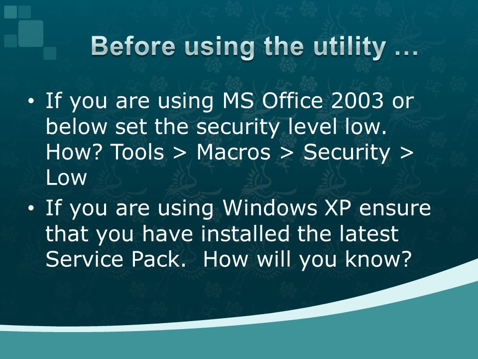 If you are using MS Office 2003 or below set the security level low.