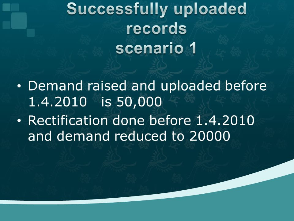 Demand raised and uploaded before 1.4.2010 is 50,000 Rectification done before 1.4.2010 and demand reduced to 20000