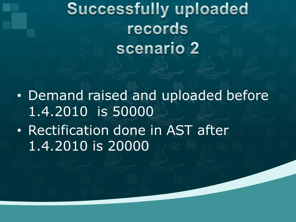 Demand raised and uploaded before 1.4.2010 is 50000 Rectification done in AST after 1.4.2010 is 20000