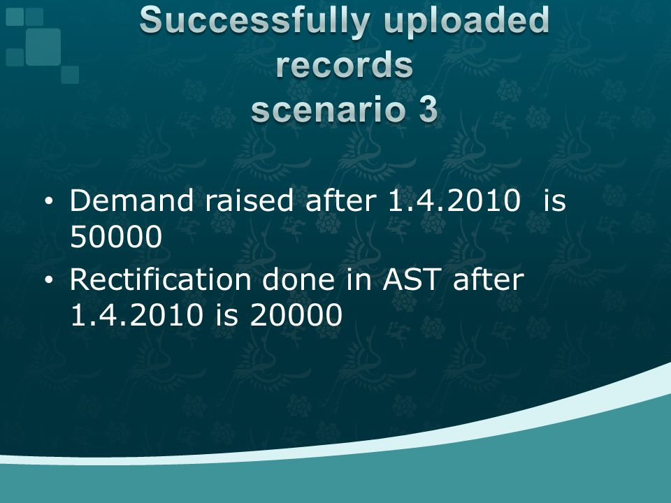 Demand raised after 1.4.2010 is 50000 Rectification done in AST after 1.4.2010 is 20000