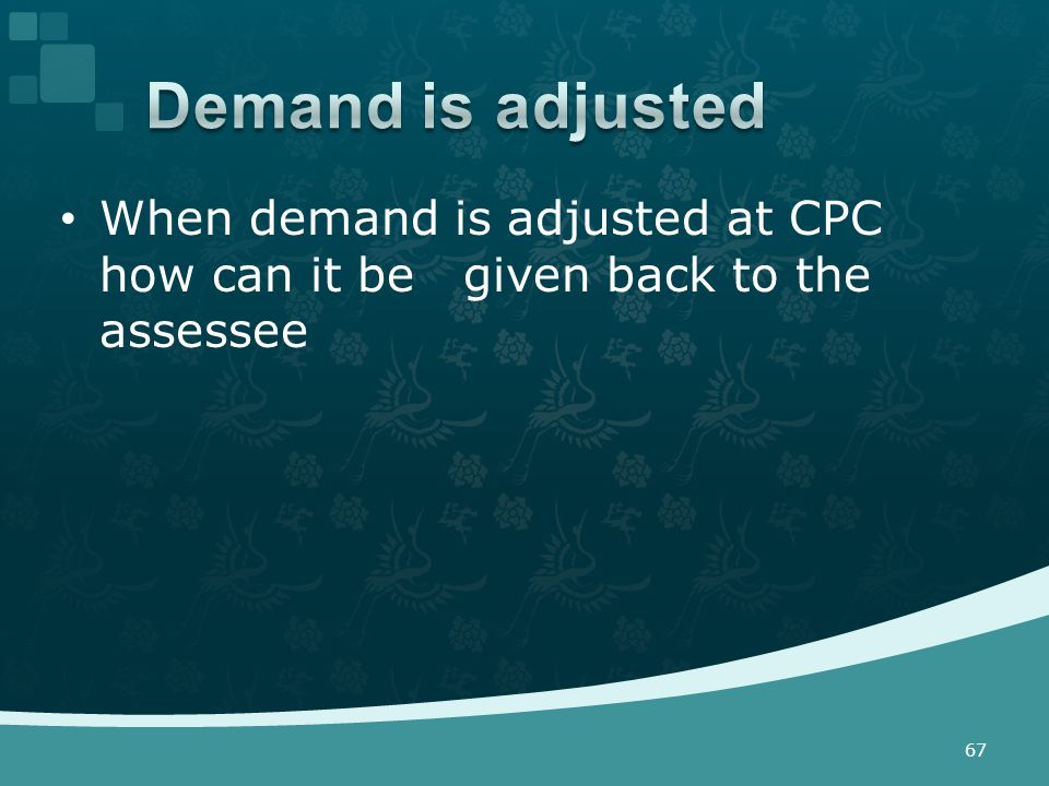 When demand is adjusted at CPC how can it be given back to the assessee 67