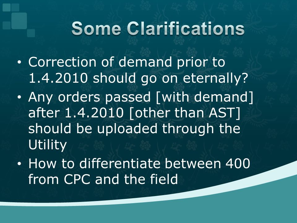 Correction of demand prior to 1.4.2010 should go on eternally.