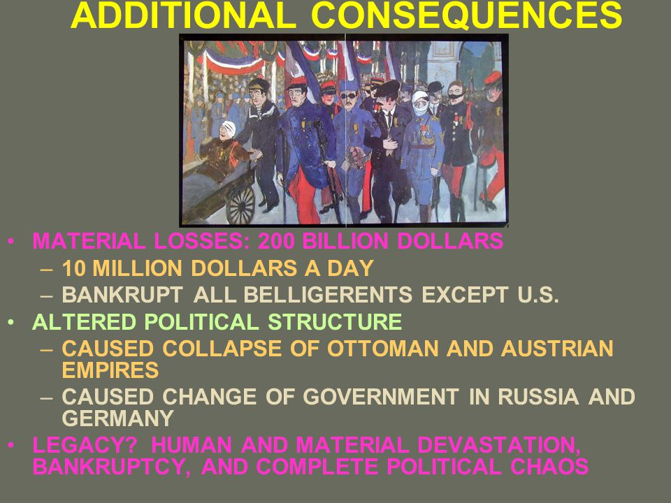 ADDITIONAL CONSEQUENCES MATERIAL LOSSES: 200 BILLION DOLLARS –10 MILLION DOLLARS A DAY –BANKRUPT ALL BELLIGERENTS EXCEPT U.S.