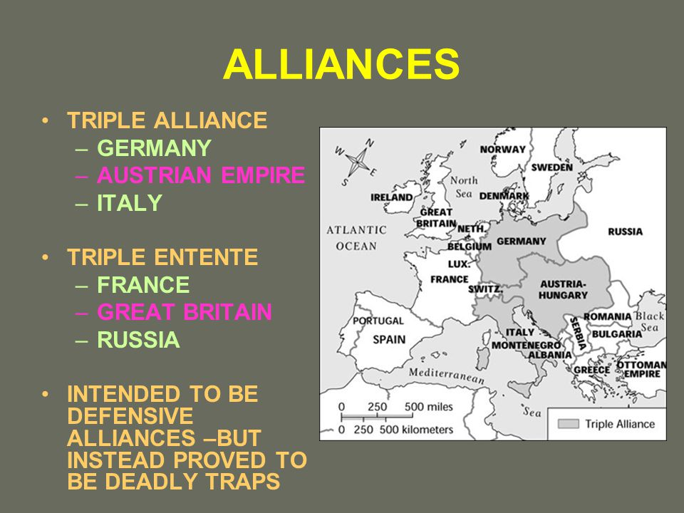 ALLIANCES TRIPLE ALLIANCE –GERMANY –AUSTRIAN EMPIRE –ITALY TRIPLE ENTENTE –FRANCE –GREAT BRITAIN –RUSSIA INTENDED TO BE DEFENSIVE ALLIANCES –BUT INSTEAD PROVED TO BE DEADLY TRAPS