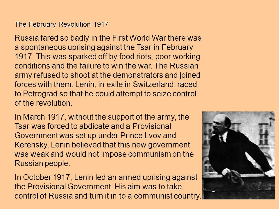 The opposition of the Communists Many middle-class Liberals and Social Revolutionaries (who supported the peasants) opposed the rule of the Tsar, but