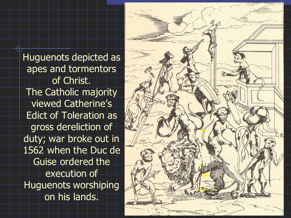Huguenots depicted as apes and tormentors of Christ.