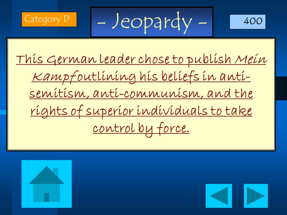 - Jeopardy - This German leader chose to publish Mein Kampf outlining his beliefs in anti- semitism, anti-communism, and the rights of superior individuals to take control by force.