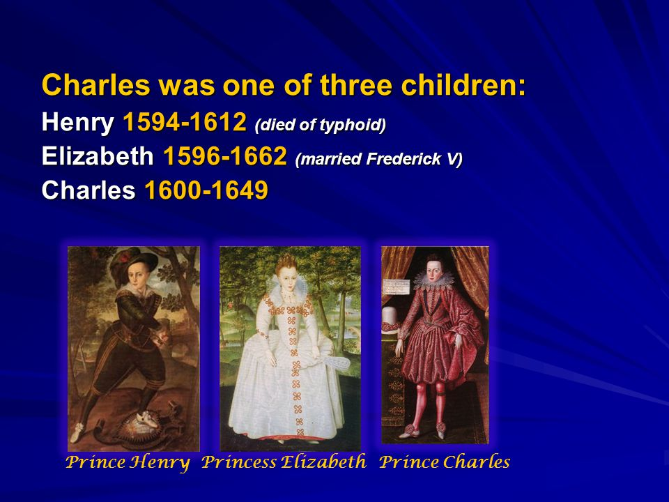 Charles was one of three children: Henry 1594-1612 (died of typhoid) Elizabeth 1596-1662 (married Frederick V) Charles 1600-1649 Prince CharlesPrincess ElizabethPrince Henry