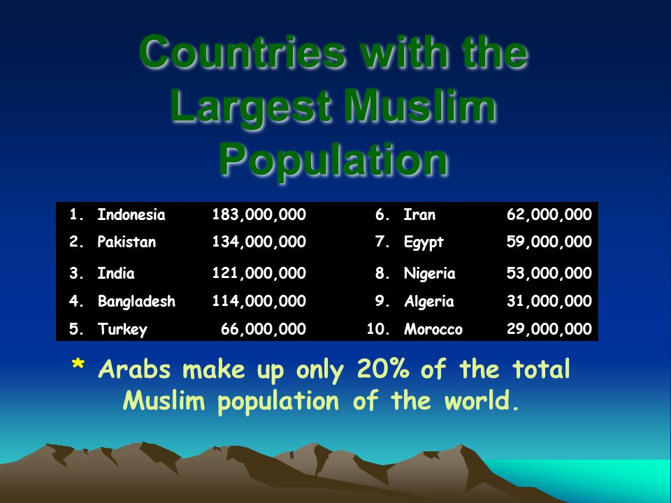 Countries with the Largest Muslim Population 1.Indonesia183,000,0006.Iran62,000,000 2.Pakistan134,000,0007.Egypt59,000,000 3.India121,000,0008.Nigeria53,000,000 4.Bangladesh114,000,0009.Algeria31,000,000 5.Turkey66,000,00010.Morocco29,000,000 * Arabs make up only 20% of the total Muslim population of the world.