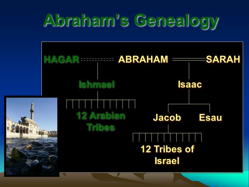 Abraham's Genealogy ABRAHAM SARAH HAGAR Isaac Esau Jacob 12 Tribes of Israel Ishmael 12 Arabian Tribes