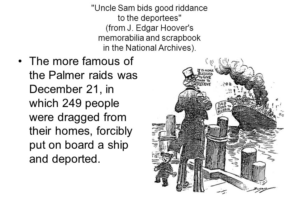 Uncle Sam bids good riddance to the deportees (from J.