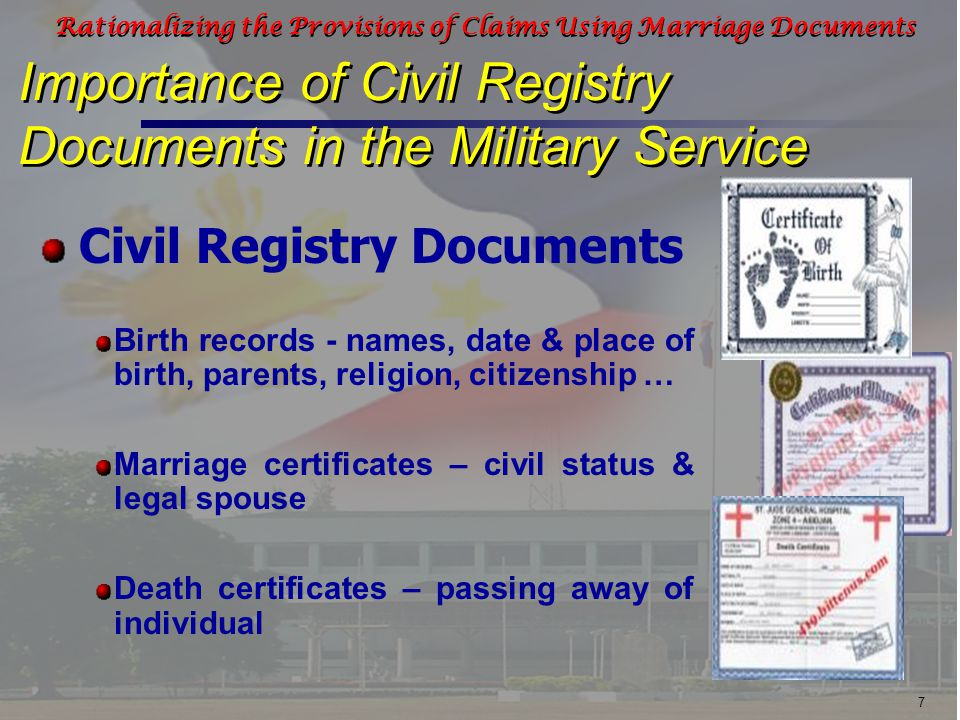 18 Rationalizing the Provisions of Claims Using Marriage Documents Commutation of Leave Benefits and Claims in the AFP requiring Civil Registry Documents Amount depends on the base pay and longevity pay of the grade last held and the number of unused leave credit by the deceased Benefit claims of surviving heirs of deceased retired/separated personnel