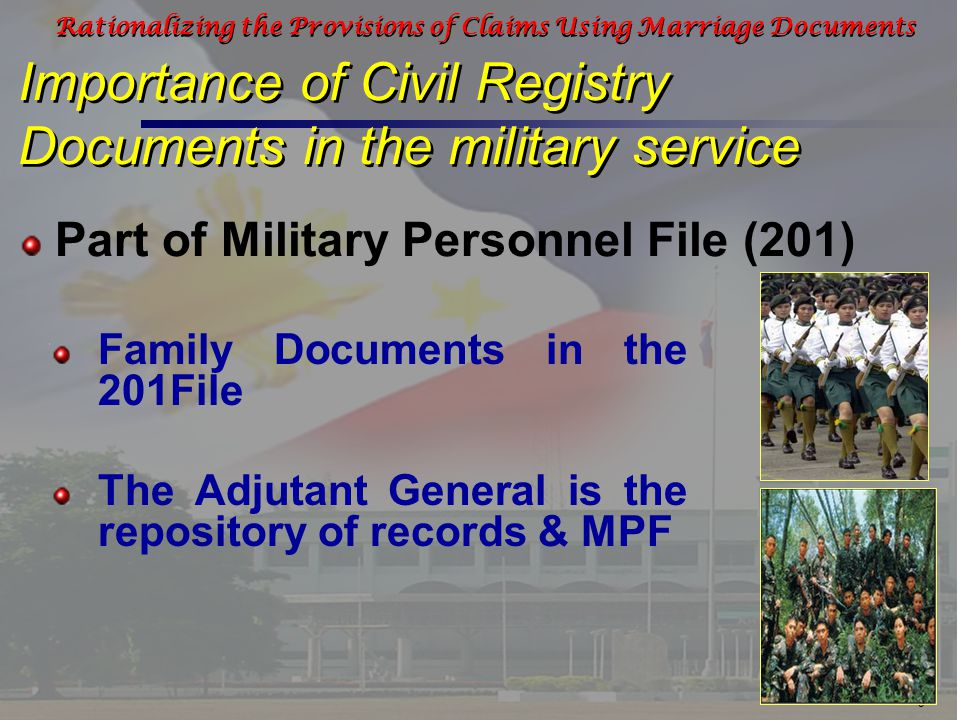 20 Rationalizing the Provisions of Claims Using Marriage Documents Cash Assistance from Alay Sa Kawal Foundation Old Age Pension for Surviving Spouse Benefits and Claims in the AFP requiring Civil Registry Documents Given to families of KIA/WIA Surviving spouse of KIA automatically qualifies for old age pension from PVAO regardless of age