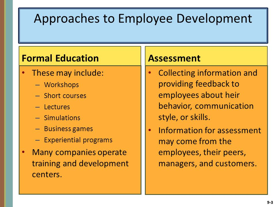 9-3 Approaches to Employee Development Formal Education These may include: – Workshops – Short courses – Lectures – Simulations – Business games – Experiential programs Many companies operate training and development centers.