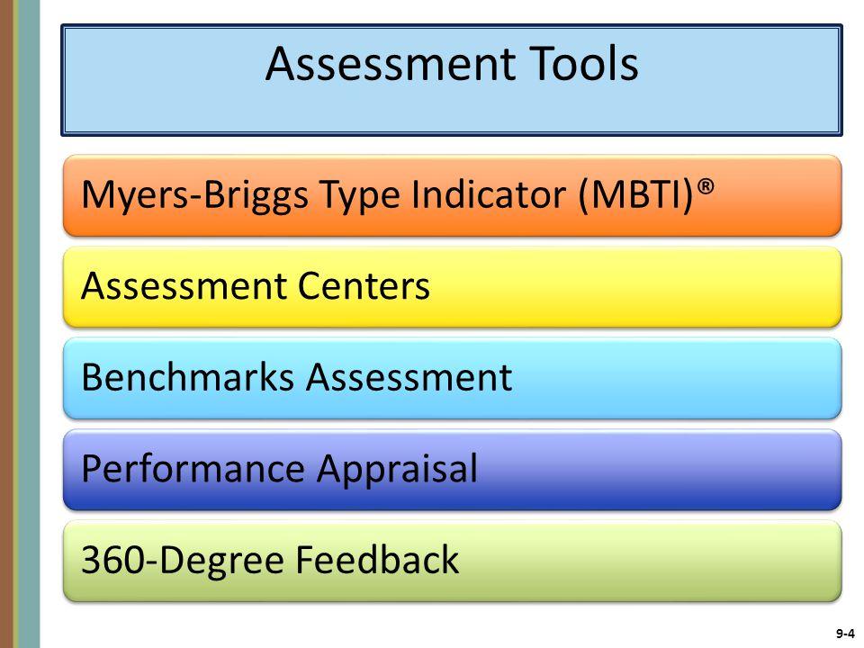 9-4 Assessment Tools Myers-Briggs Type Indicator (MBTI)®Assessment CentersBenchmarks AssessmentPerformance Appraisal360-Degree Feedback