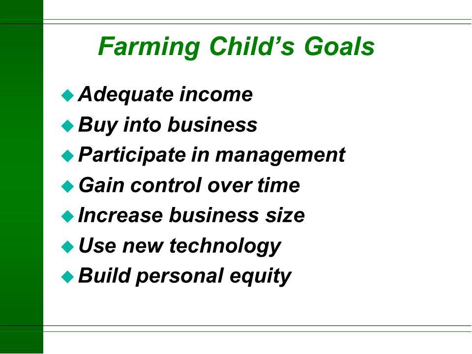 Parents Goals u Slow Down u Turn over business u Maintain some involvement u Protect breakup of business u Treat all children equitably u Adequate ret