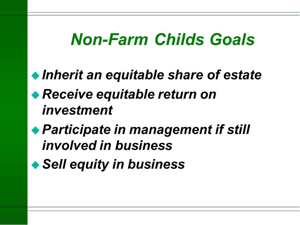 Farming Child's Goals u Adequate income u Buy into business u Participate in management u Gain control over time u Increase business size u Use new te