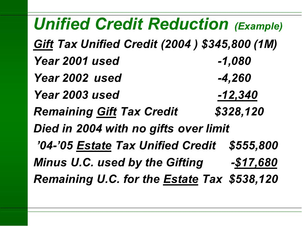 Unified Credit u Used to calculate effective Federal Estate and effective Gift tax exemptions u Currently the credit is applied to both the Federal Gi