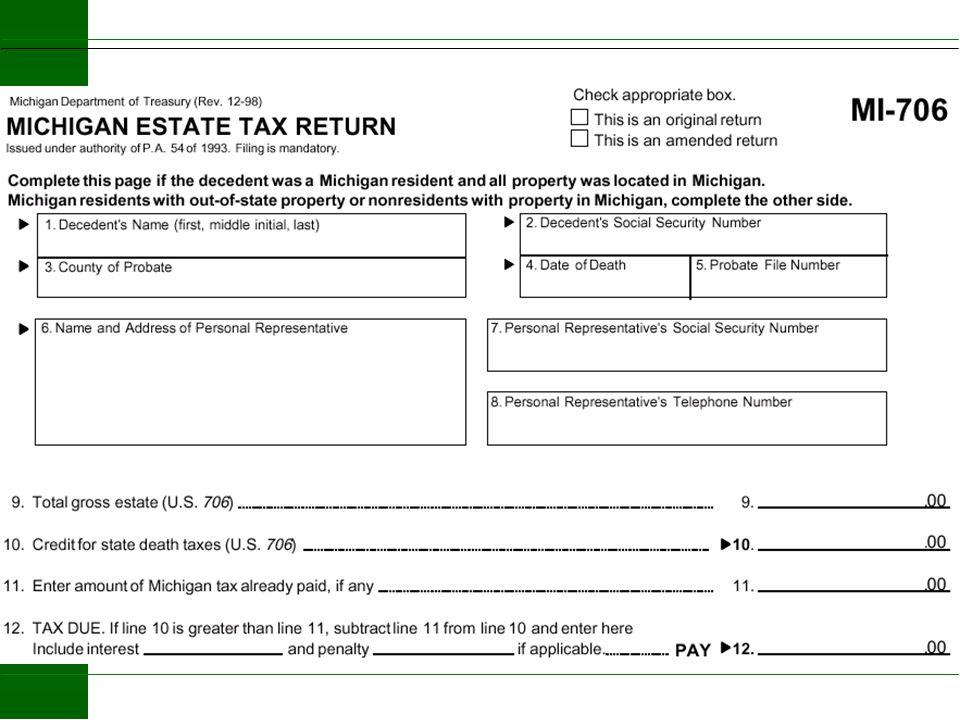 2004 Michigan Estate Tax Adjusted Taxable Estate $2,099,000 Michigan Credit - 60,000 Taxable Estate $2,039,000 Tax on 1,540,000 $ 70,800 Tax on 499,00