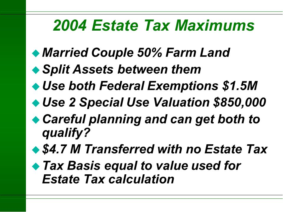 Recapture of Tax Savings from Special Use Valuation (Section 2032A) u If sold or family fails to meet Material Participation u 100 % first 6 years u 8
