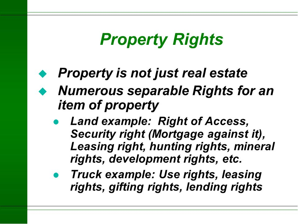 Property u Intangible and invisible rights, powers, privileges and responsibilities of the owner u Real Property Land Land improvements u Personal Pro