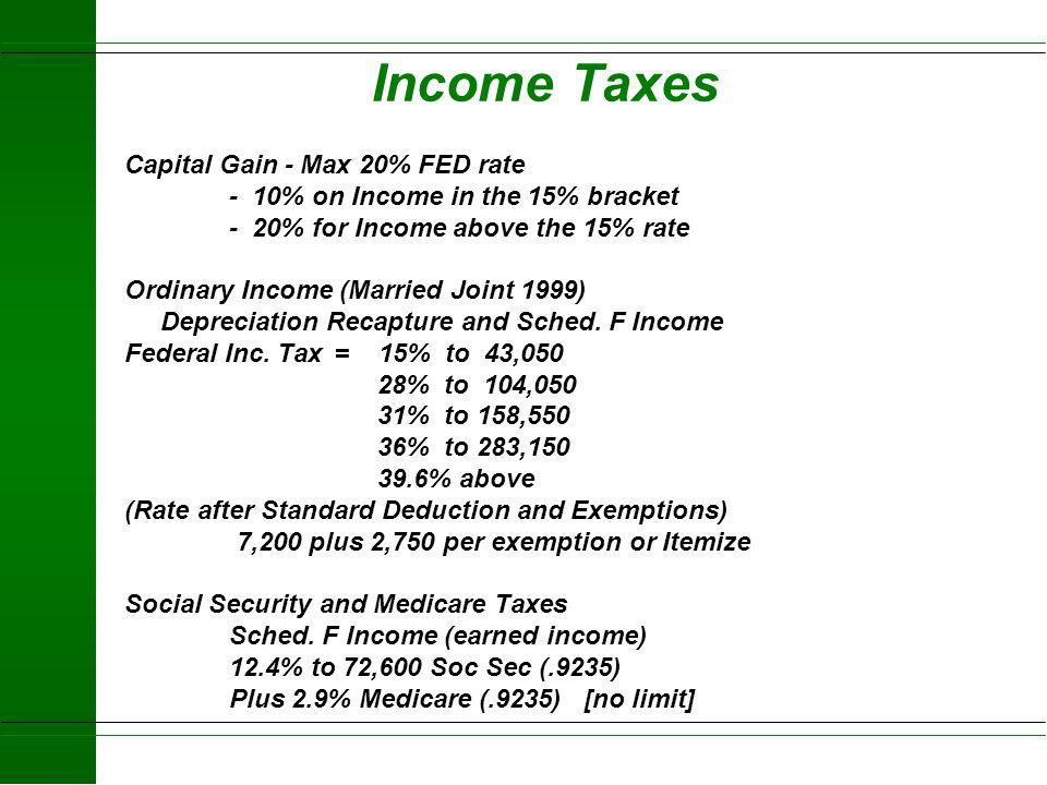1999 Taxation of Example Farm 1965 - Bought 100 ac HOME Farm$ 25,000 Land$20,000 Buildings $5,000 1972 - Bought SMITH200 ac$100,000 1975 - Built SWINE