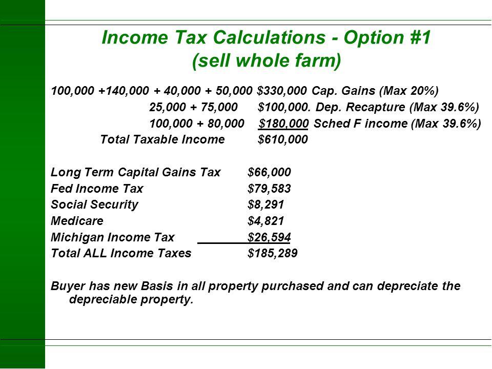 Option #1- Sell Whole Business Cash Sale Home Farm 100 ac x 1,200 = 120,000 - 20,000 basis=$100,000 (Capital Gain) Buildings 30,000 - 5,000 basis = $2