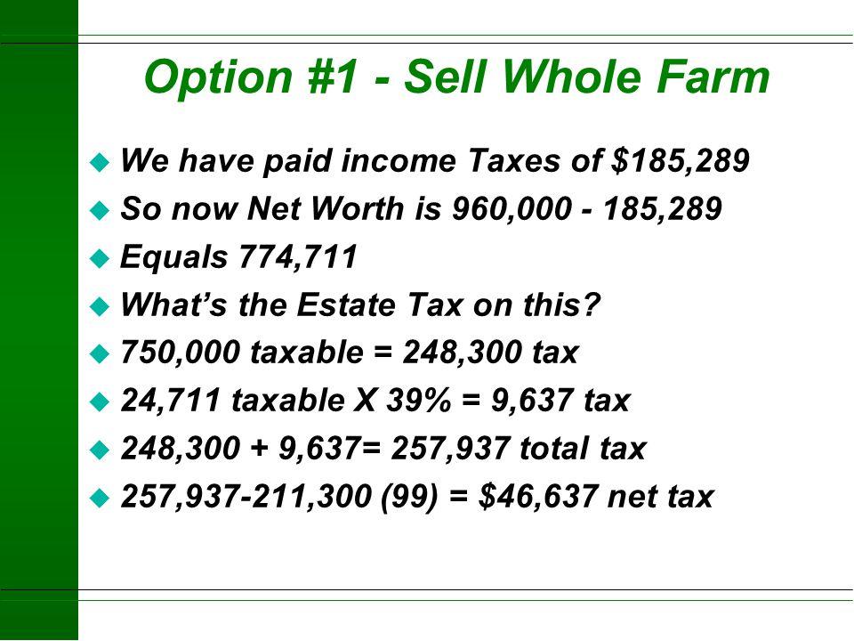 Income Tax Calculations - Option #1 (sell whole farm) 100,000 +140,000 + 40,000 + 50,000 $330,000 Cap. Gains (Max 20%) 25,000 + 75,000 $100,000. Dep.