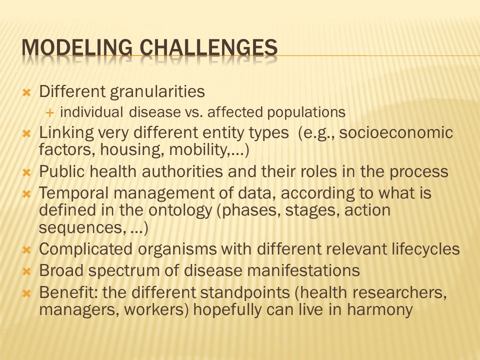 Different granularities  individual disease vs.