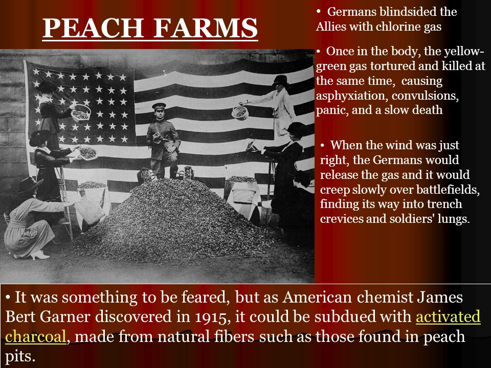 Germans blindsided the Allies with chlorine gas Once in the body, the yellow- green gas tortured and killed at the same time, causing asphyxiation, convulsions, panic, and a slow death When the wind was just right, the Germans would release the gas and it would creep slowly over battlefields, finding its way into trench crevices and soldiers lungs.