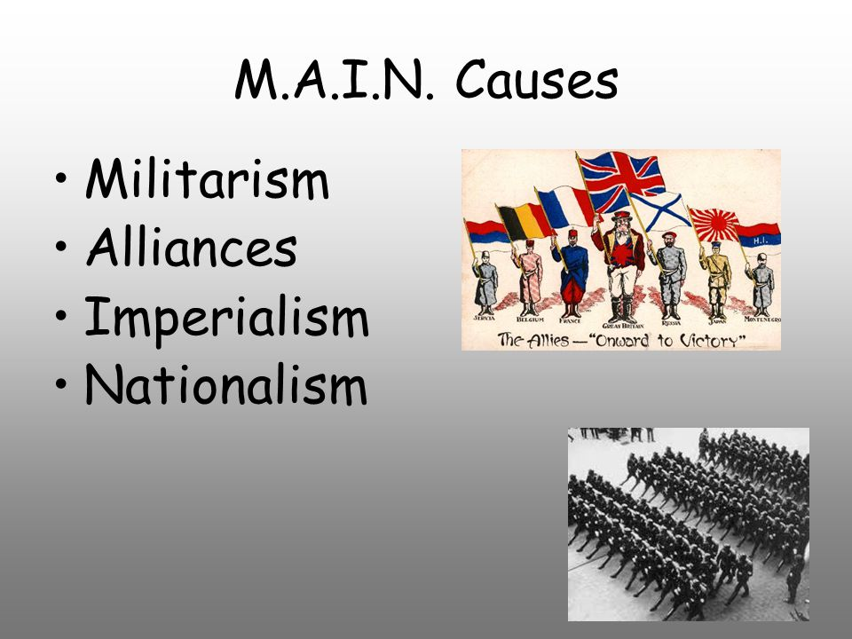 M.A.I.N. Causes Militarism Alliances Imperialism Nationalism