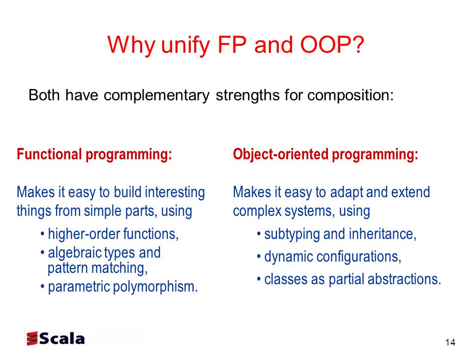 14 Why unify FP and OOP.