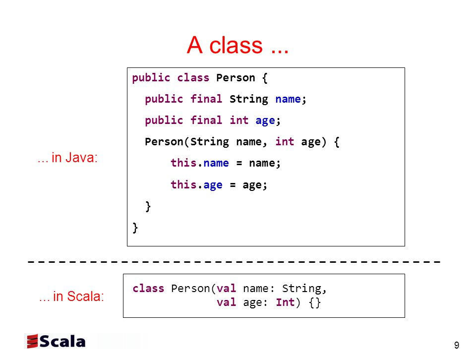 40 Scala cheat sheet (4): Traits Scala Trait trait T { def abstractMeth(x: String): String def concreteMeth(x: String) = x+field var field = ! } Scala mixin composition: class C extends Super with T Java Interface interface T { String abstractMeth(String x) (no concrete methods) (no fields) } Java extension + implementation: class C extends Super implements T