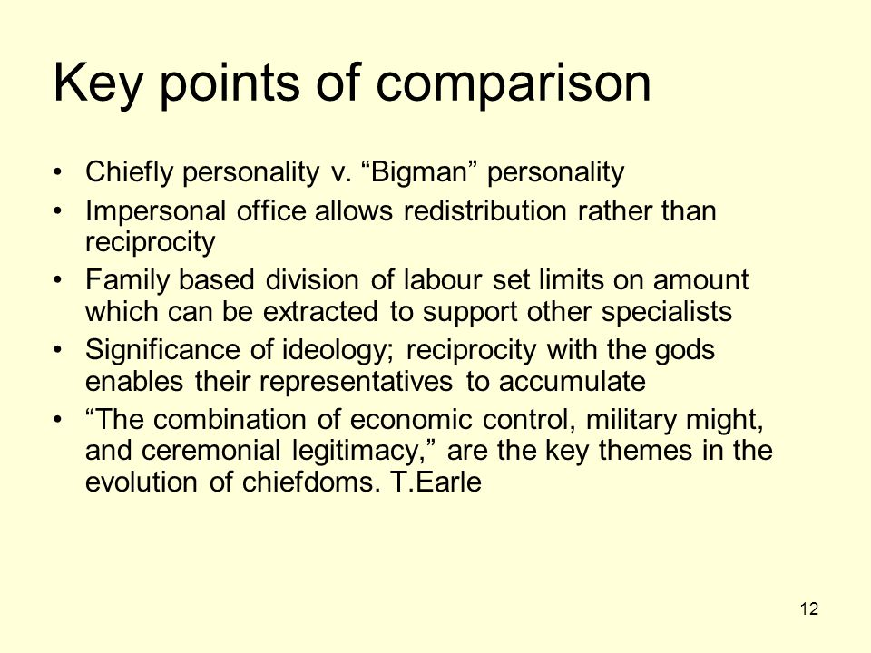 12 Key points of comparison Chiefly personality v.