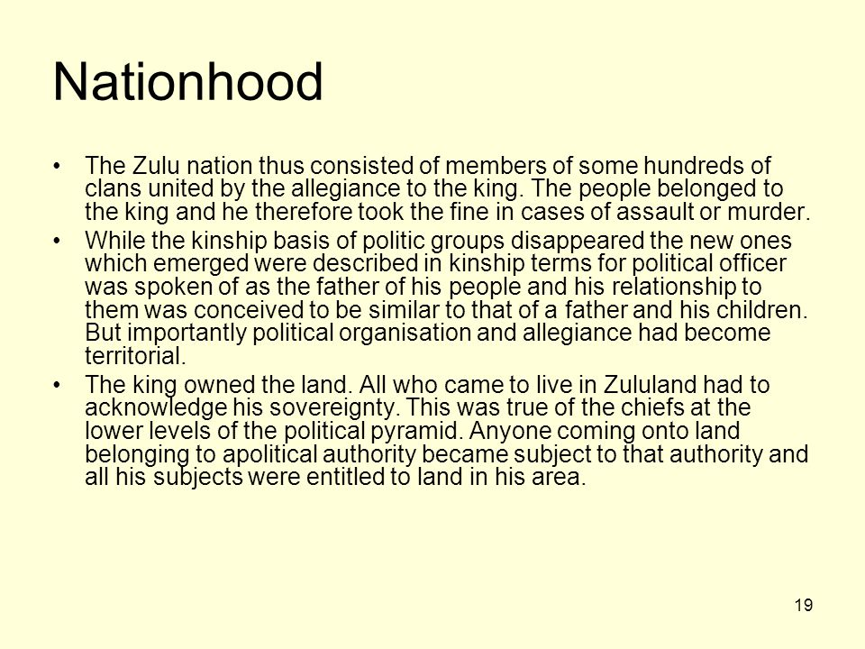 19 Nationhood The Zulu nation thus consisted of members of some hundreds of clans united by the allegiance to the king. The people belonged to the kin