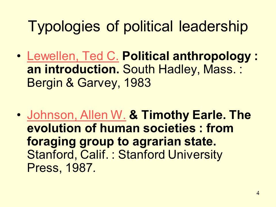 4 Typologies of political leadership Lewellen, Ted C.