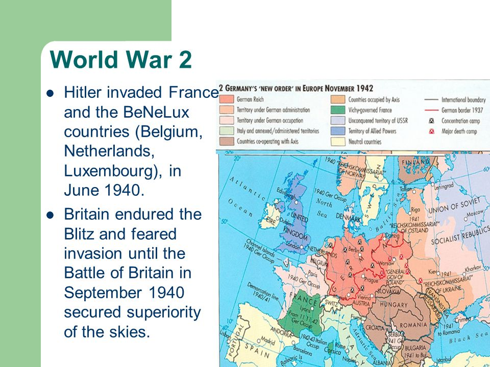 World War 2 Britain endured the Blitz and feared invasion until the Battle of Britain in September 1940 secured superiority of the skies.