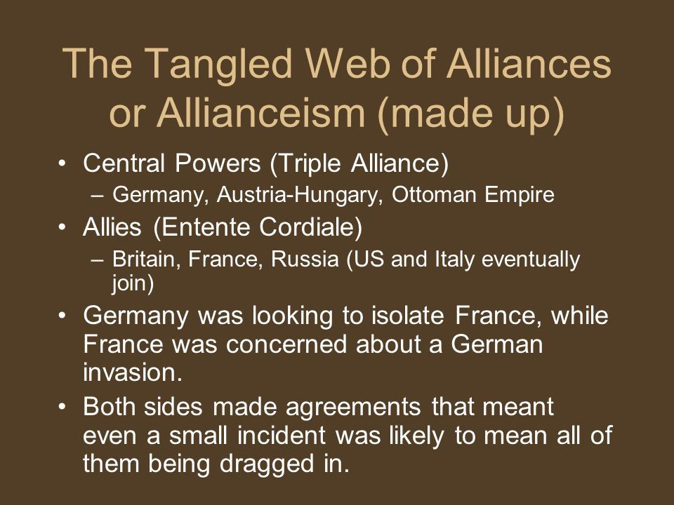 The Tangled Web of Alliances or Allianceism (made up) Central Powers (Triple Alliance) –Germany, Austria-Hungary, Ottoman Empire Allies (Entente Cordi