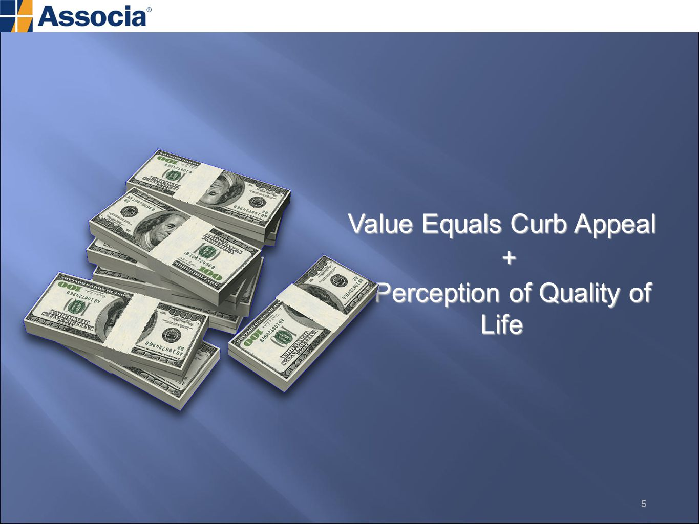 Value Equals Curb Appeal + Perception of Quality of Life Perception of Quality of Life 5