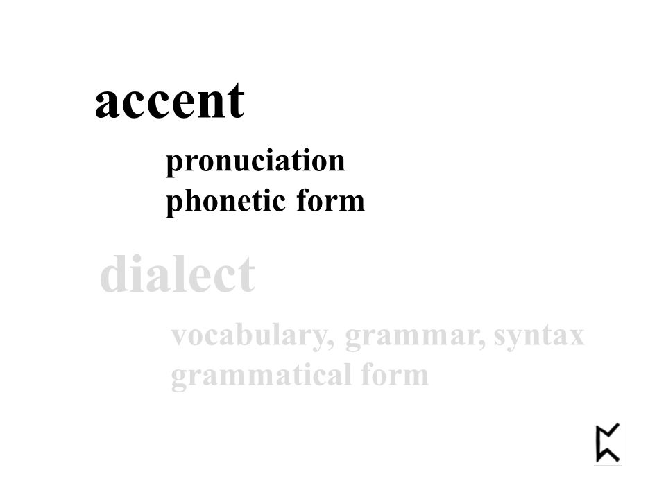 accent pronuciation phonetic form dialect vocabulary, grammar, syntax grammatical form